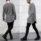 Long Sleeve Swag Striped Cotton Curved Hem TShirt - Wear.Style