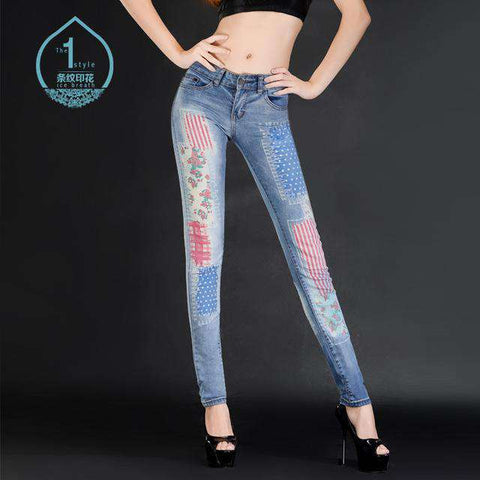 Slim Thin Pencil Print Skinny Jeans with flowers