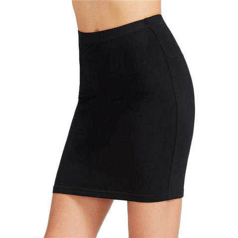Brief Pencil Black Elastic Waist Slim Sexy Mini Skirt - Wear.Style