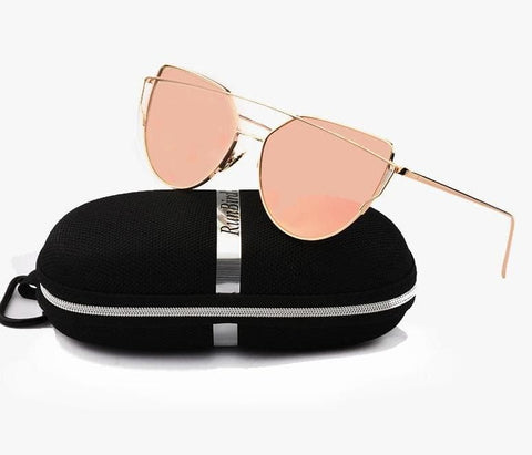 Mirror Flat Lens Cat Eye Twin-Beams Rose Gold Frame Sunglasses
