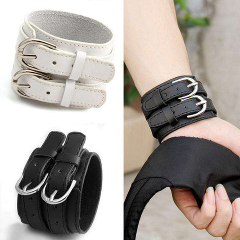 Double Belt 100% Real Leather Wrist Buckle Punk High Braclet