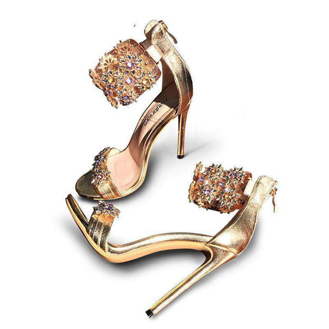 Rhinestones Crystal High Thin Heels Shoes Sandals