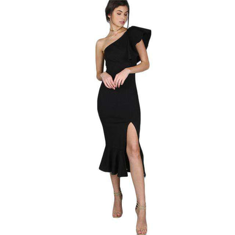 Black One Shoulder Frill Peplum Hem Sexy Slim Ruffle Split Dress