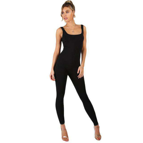 Black Sleeveless Slim Scoop Neck Skinny Sexy Jumpsuit