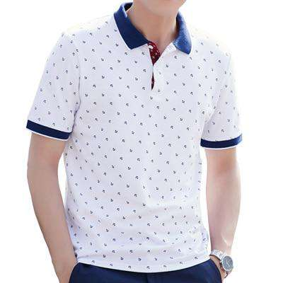 100% Cotton Printed Short Sleeve Polo Stand Collar T-Shirt