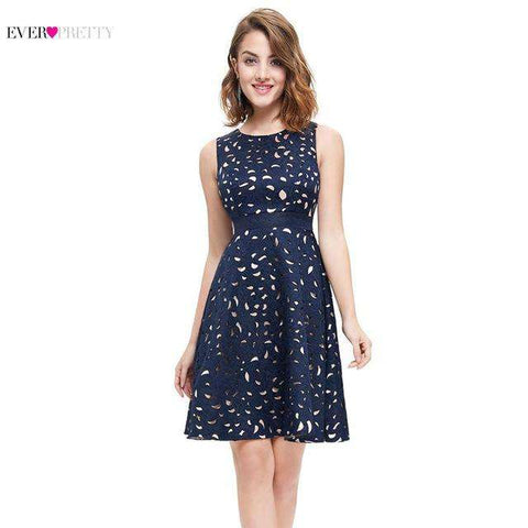 Elegant A-Line Mini Navy Blue Lady Cocktail Dress