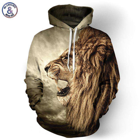 Lion Ancient Digital Printed Hooded Jacket - Wear.Style