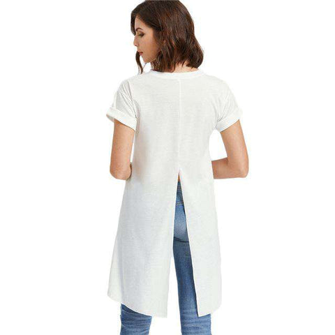 Slit Back White High Low Dip Hem Brief Sexy Short Sleeve Top