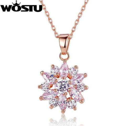 Flower Pendant Necklaces With High Quality Zircon Crystal