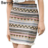 Ethnic High Waist Mini Pencil Skirt - Wear.Style