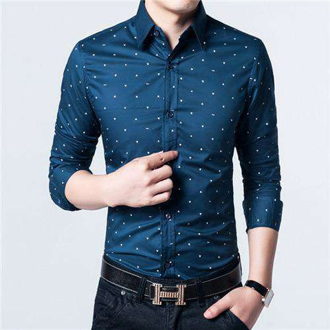 Polka Dot Casual Cotton Formal Long Sleeve Slim Fit Shirt - Wear.Style
