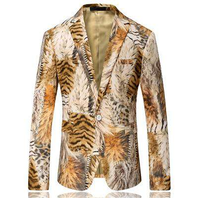 Single Breasted Tiger Stripes Slim Fit Blazer