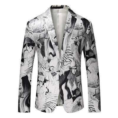 White Printed Floral Slim Single Breasted Blazer