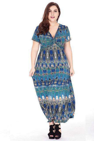 Blue Print Bohemian V Neck Maxi Long Beach Dress