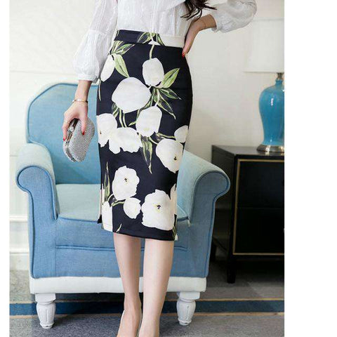 High Waist Flower Printed Skirt