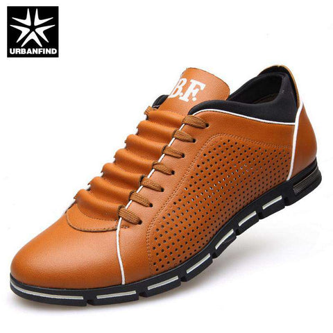 Leather Casual Breathable Lace-up Shoes