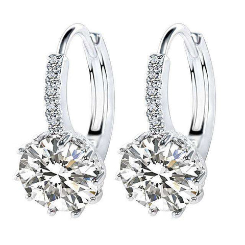 Gorgeous Hoop AAA CZ Luxury White Gold Colour Earring