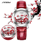 Plum Flower Red Leather Wristwatche - Wear.Style