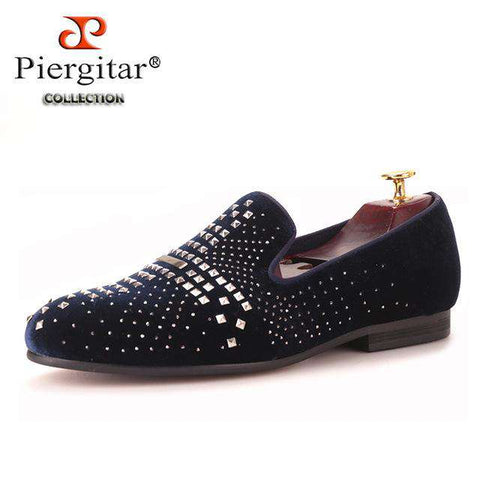 Handmade Velvet Rhinestone and Rivet Loafers - Wear.Style