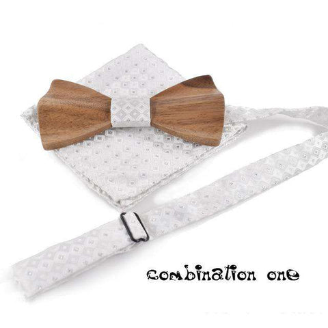 Wooden Butterfly Neck Ties With Wood Boxes Set