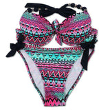 Print Floral Brazilian Push Up Halter Bikini Swimsuits Set - Wear.Style