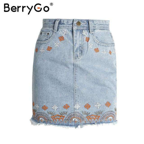 Flower Embroidery High Waist Tassel Zipper Pencil Skirt - Wear.Style