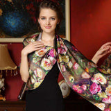Long Genuine Silk Printed 100% Mulberry Silk Scarf - Wear.Style