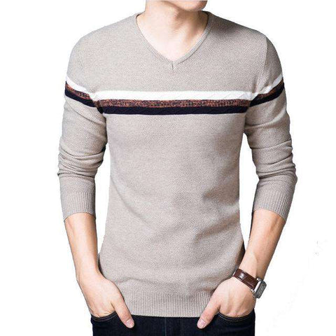 Casual Patchwork V-Neck Long-sleeved Pullover