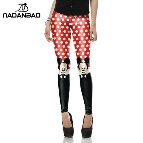 Red Cute Micky Printed Leggings - Wear.Style