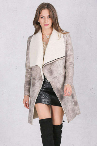 Suede Lambswool Elegant warm zipper Turn down collar wide waisted Coat