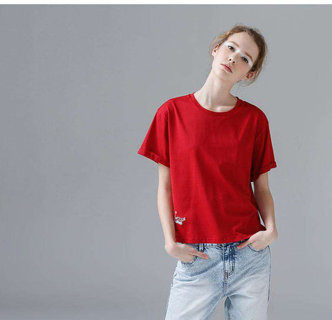 Casual Embroidery Short Sleeve O-Neck Tees