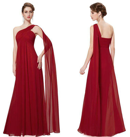One Shoulder Ruffles Padded Long Evening Dress Gown