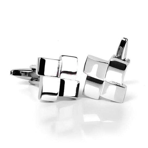 Geometric Unique Silver Cufflinks
