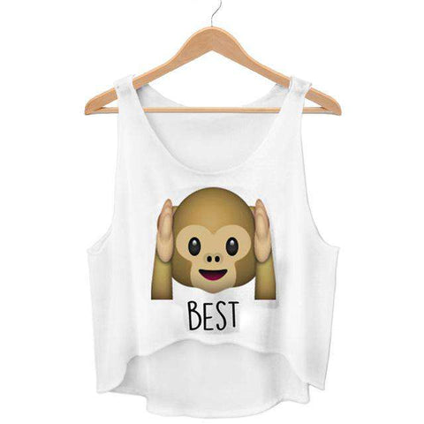 Cute Monkey Emoji Crop Best Friends Forever Tops