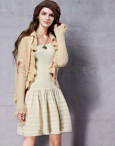 All-match Vintage Batwing Sleeve Comfy Warm Knitwear With Ruffles Cardigan