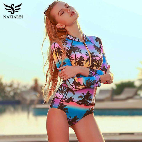 One Piece Long Sleeve Print Floral Swim Suits