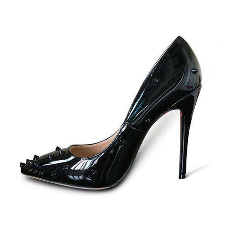 Patent Leather High Heel Rivet Shoes Pointed Toe Sandals