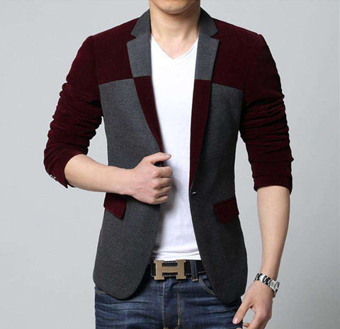 Single Button Wool Blended Contrast Colour Slim Fit Blazer