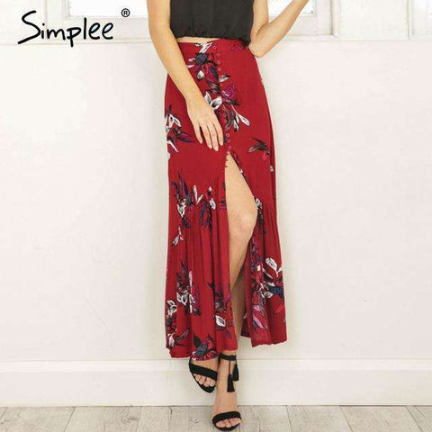 High waist Long Split Floral Print Skirt