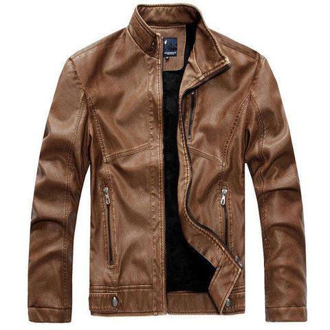 Slim Mandarin Collar Leather Jacket - Wear.Style