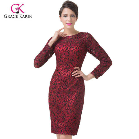 Elegant Three Quarter Sleeves Knee Length Dress