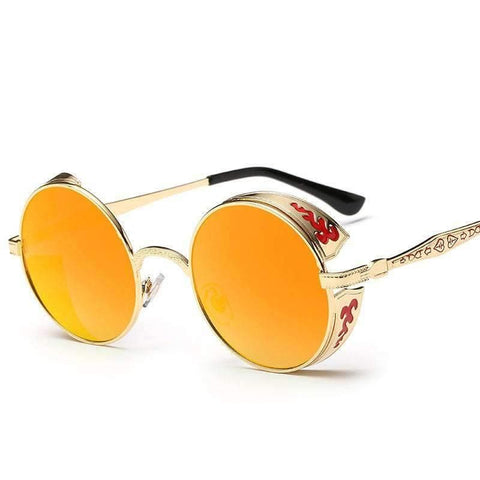 Designer Steampunk Engraving Pattern Round Sunglasses