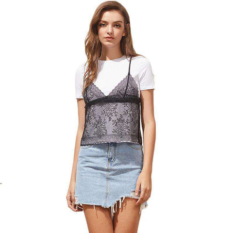 Contrast Floral Lace Cami Sexy O Neck Casual T-shirt