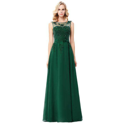 a51aed8b105 Long Green Lace Sexy Backless Robe Evening Dresses - Wear.Style   Dress