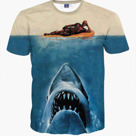 3d Animal Printed Deadpool with Shark Head Blue Animal TShirt - Wear.Style