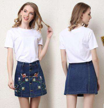 Floral Embroidery Breasted Mini Denim Skirt