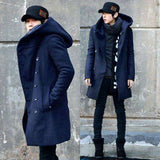 Hooded Woollen Split Long Jacket - Wear.Style