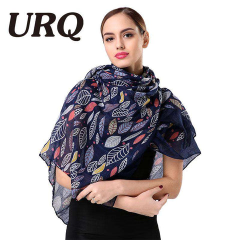Retro Style Leaves Printed Long Viscose Big Size Scarf - Wear.Style