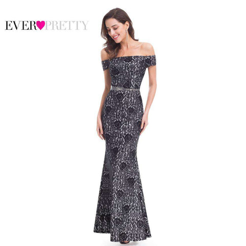 Boat Neck High Quality Lace Black Elegant Formal Long Evening Dresses - Wear.Style