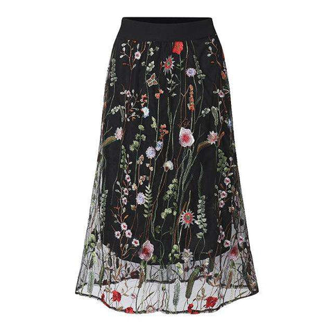 Long Elegant Black Floral Embroidered Mesh Overlay A Line Midi Skirt - Wear.Style